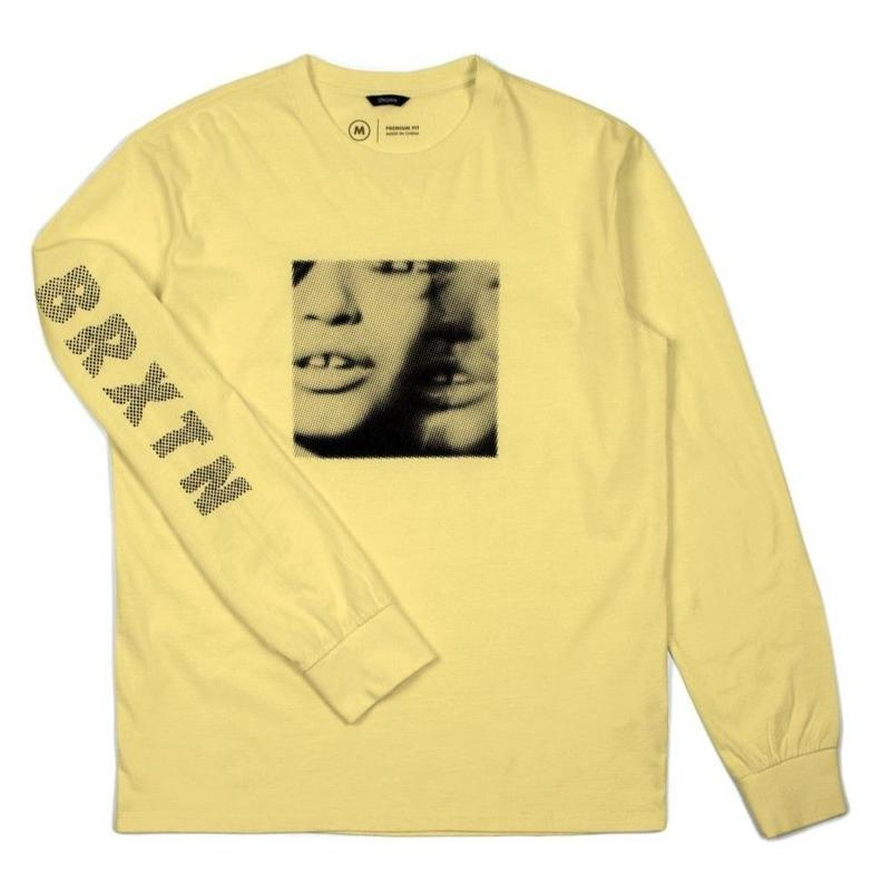 BRIXTON LENS L/S STANDARD TEE - WASHED YELLOW
