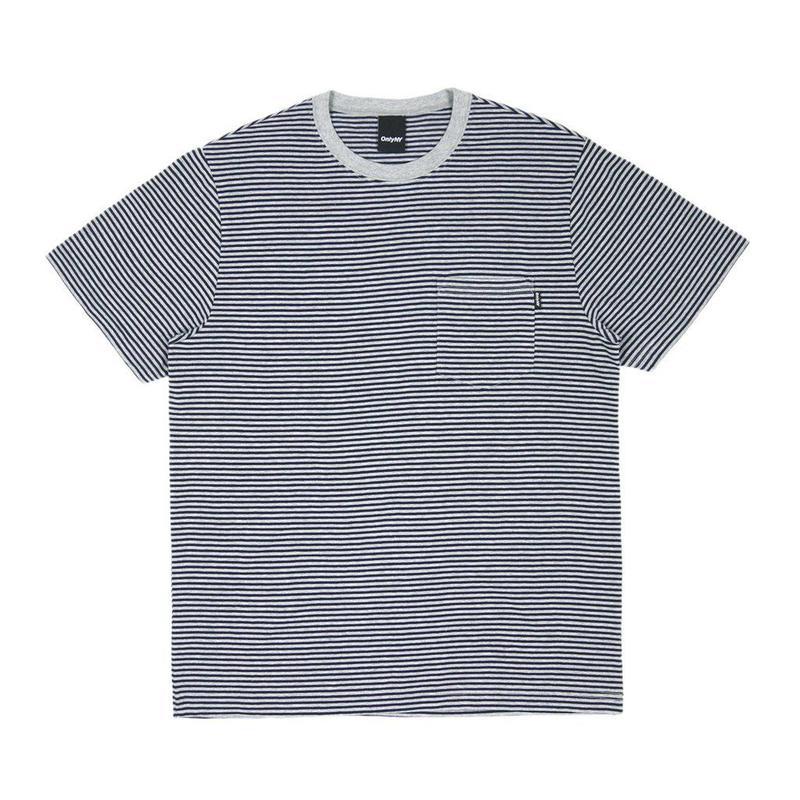ONLY NY Mercer Stripe Pocket T-Shirt - Heather Grey