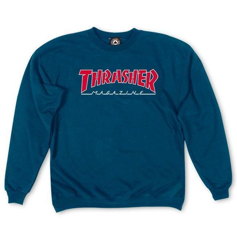THRASHER Outlined Crewneck  - Navy