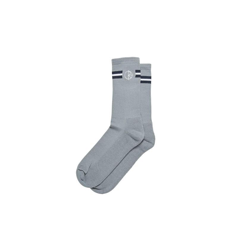 POLAR SKATE CO STROKE LOGO SOCKS - Grey/Navy/Orange