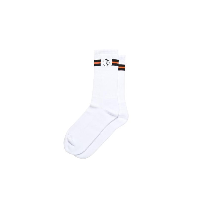 POLAR SKATE CO STROKE LOGO SOCKS - White/Black/Orange