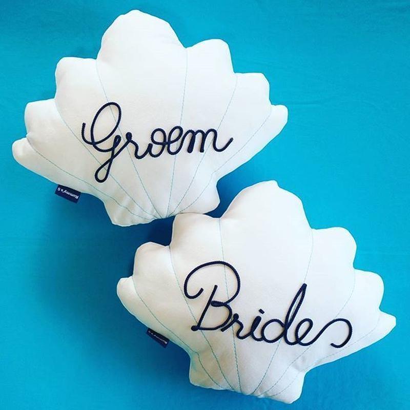 Wedding Pair Shell Cushions♡ウェディングペアシェルクッション Braide Groom文字入り