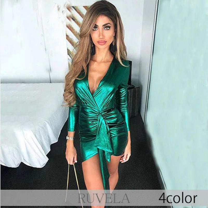 【RUVELA SELECT】4color カシュクールフリルデザインミニドレス