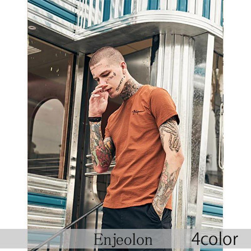 【Enjeolon】4color ワンポイント刺繍デザイン半袖Tシャツ