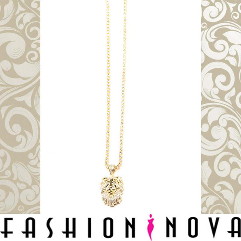 即納【Fashion Nova】ゴールドキングライオンチェーンネックレス