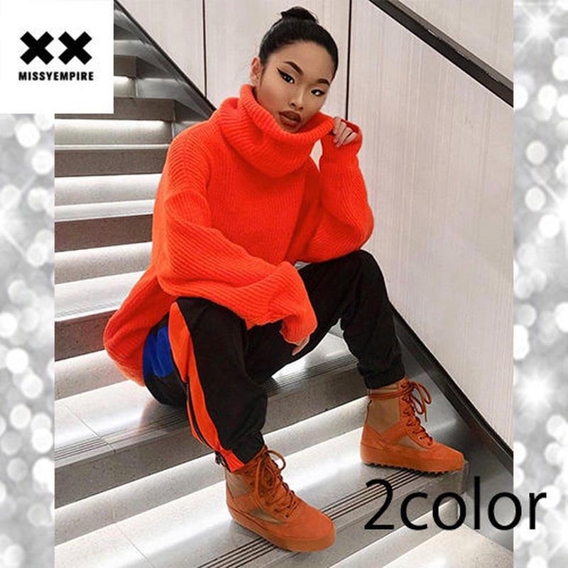 【MISSY EMPIRE】2color タートルネックオーバーサイズニットジャンパー