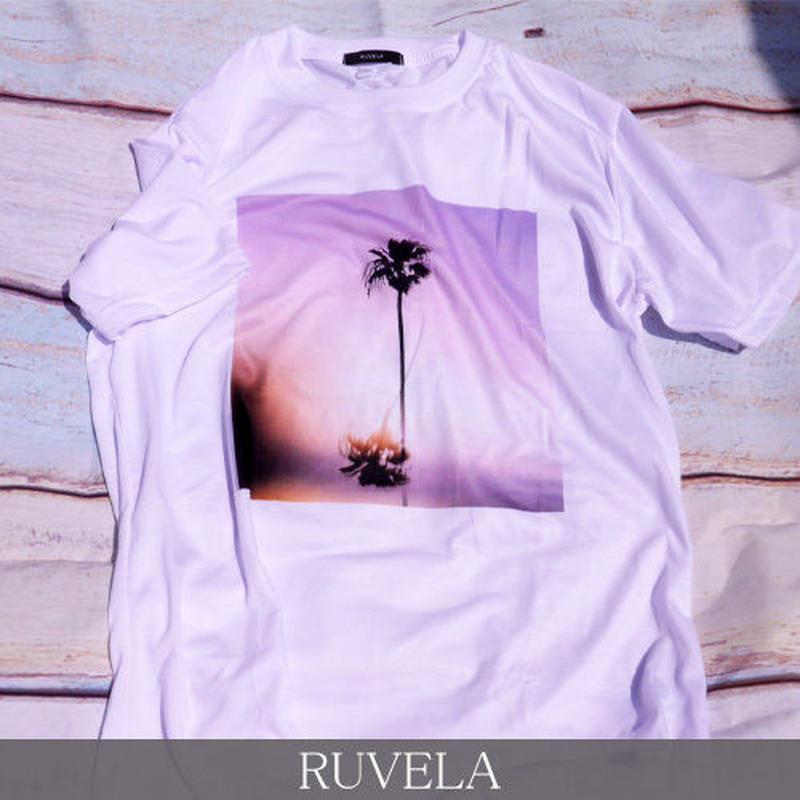 RUVELA ORIGINAL パームツリープリントTシャツ 半袖 ユニセックス