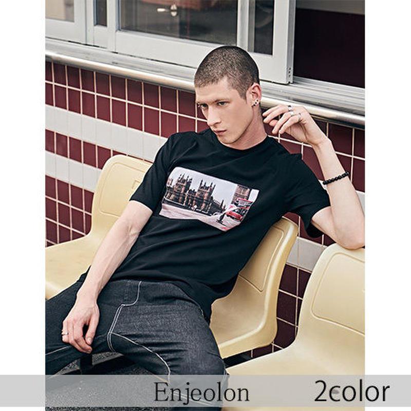 【Enjeolon】2color グラフィックプリント半袖Tシャツ