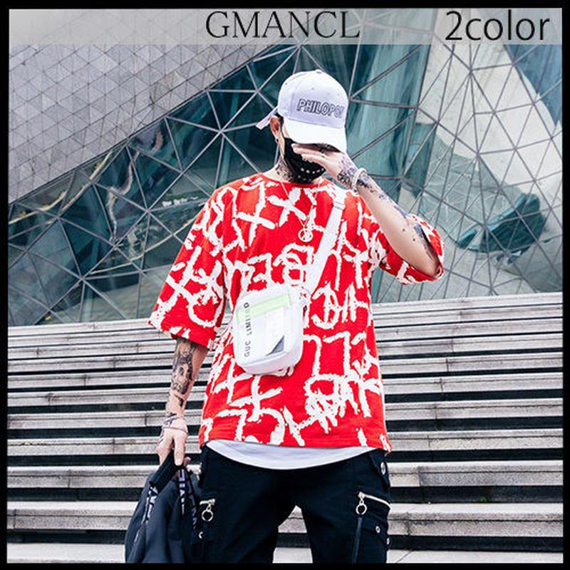 【GMANCL】2color 総柄英字プリント半袖Tシャツ