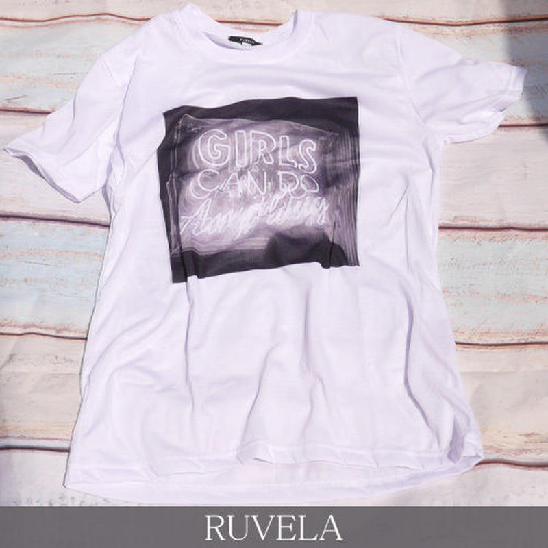 RUVELA ORIGINAL Girls Can Do Anything プリントTシャツ 半袖 ユニセックス