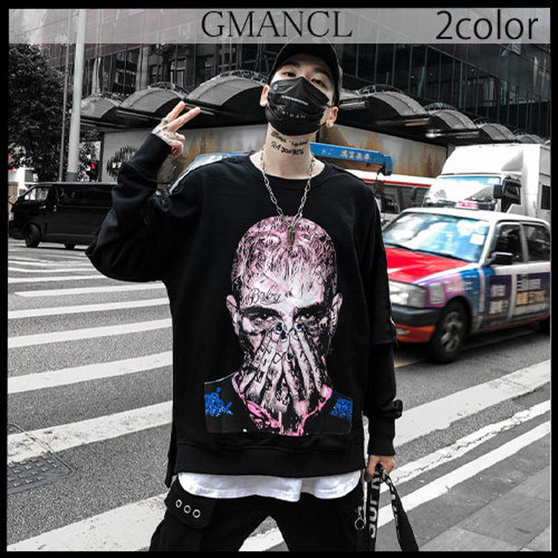 【GMANCL】2color 袖ロゴフェイスアートプリント長袖スウェットTシャツ