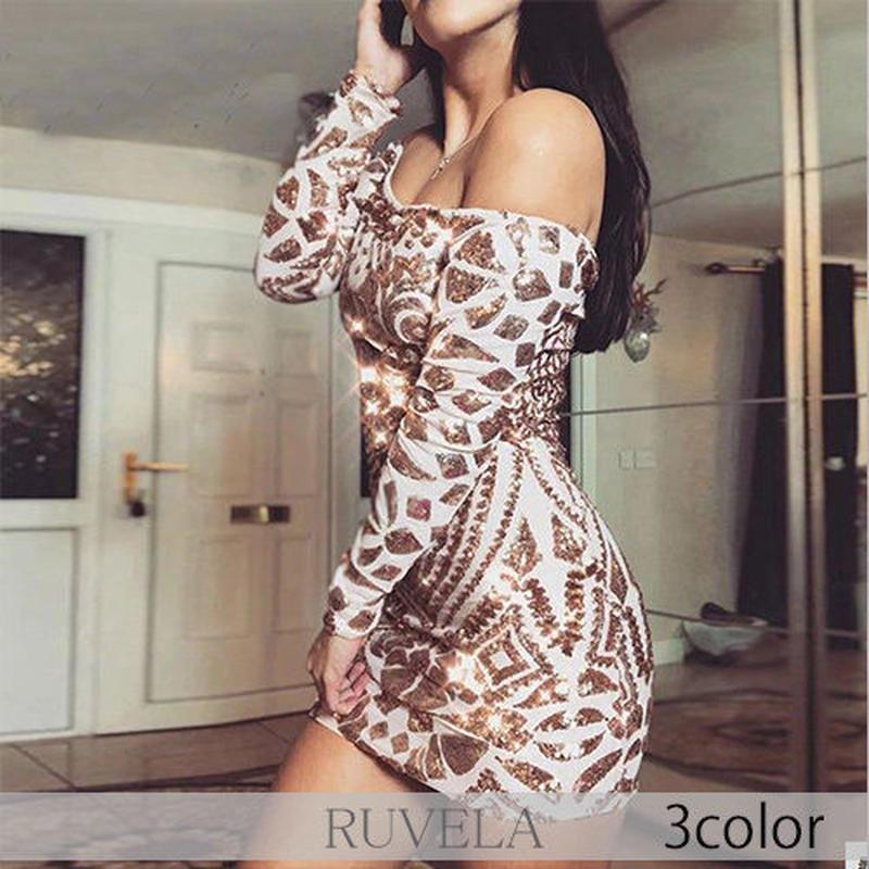【RUVELA SELECT】3color スパンコールデザインオフショルダーミニドレス