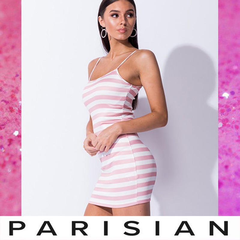 即納【取り寄せ】【Parisian】ボーダーキャミボディコンミニワンピース