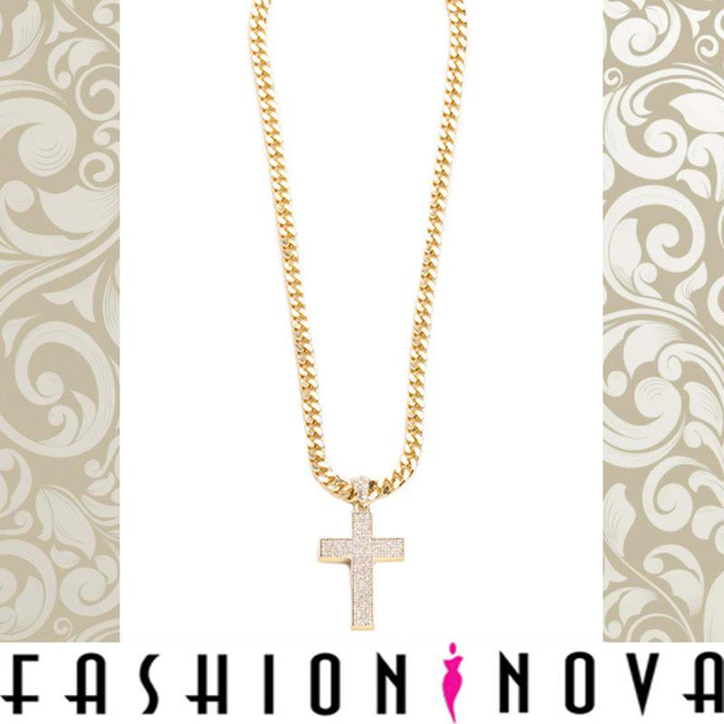 即納【Fashion Nova】ゴールドクロスチェーンネックレス