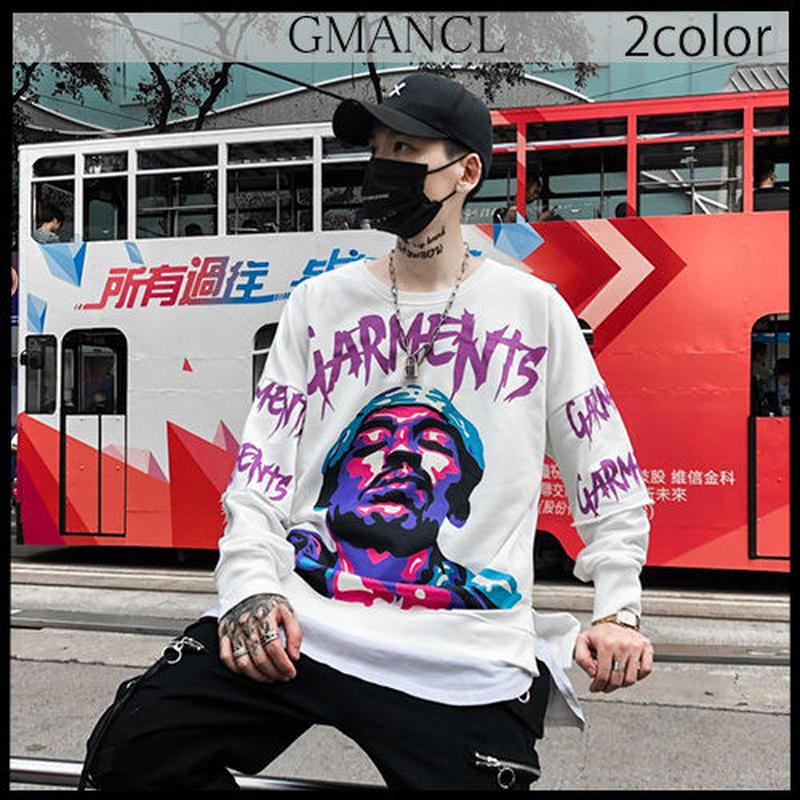 【GMANCL】2color フェイスアートプリント長袖スウェットTシャツ