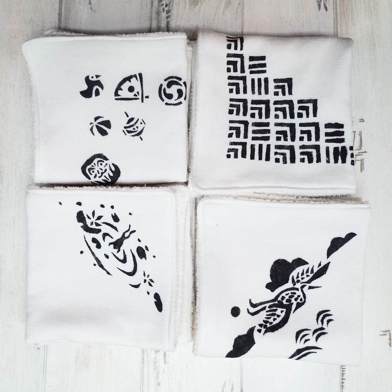 Hand printed facecloths | ハンドプリントのお顔ふき