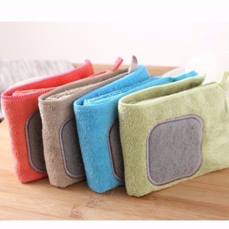 スポンジ付きマイクロファイバー布巾
