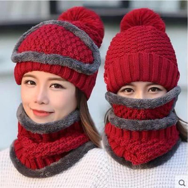 【7色】ニット帽&防寒マスク&スヌード 3点セット 防寒 4way