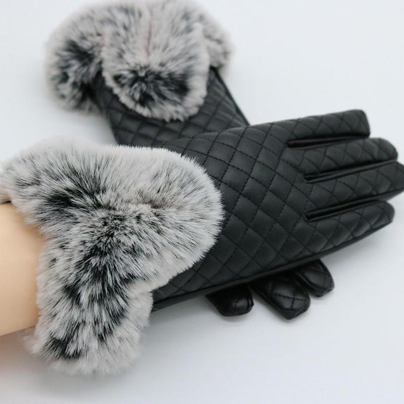 PUレザー裏起毛スマホ手袋