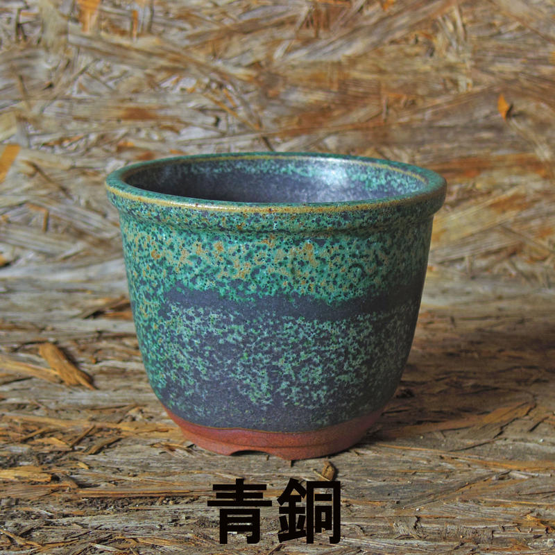 伝市鉢 丸型色付き 4号