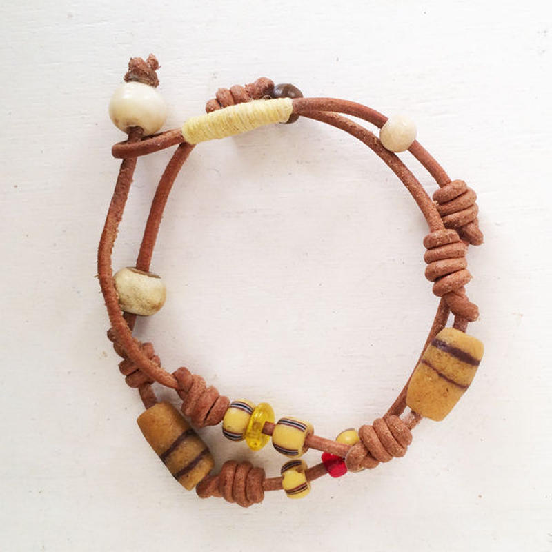 Leather Bracelet/ Mustardchic