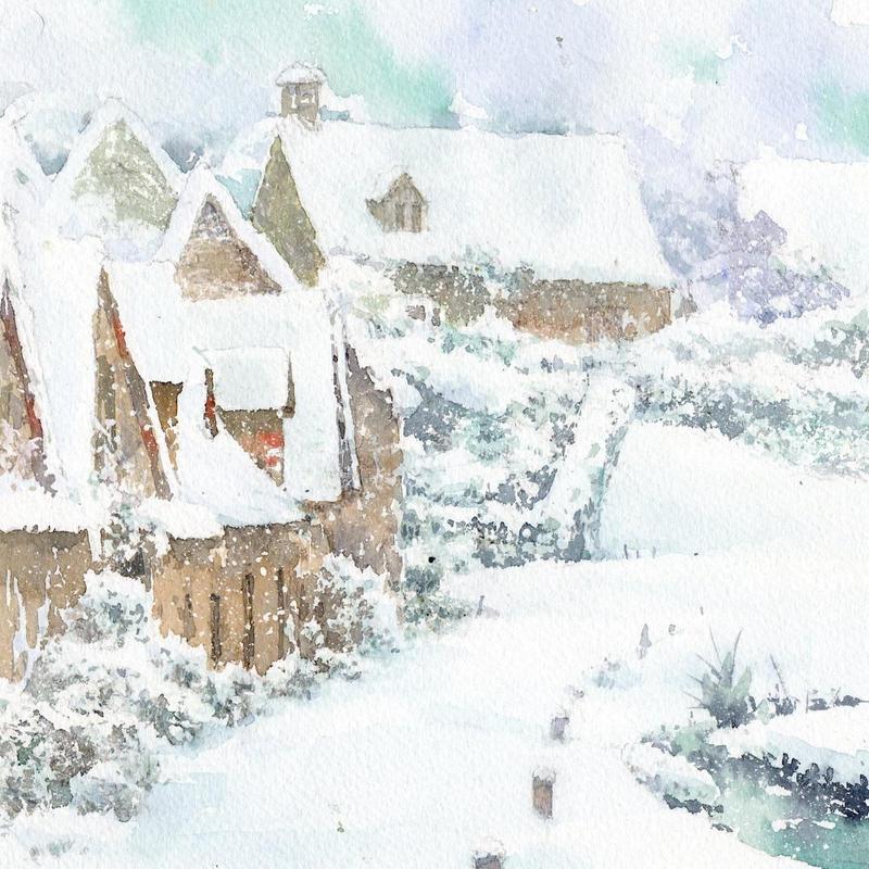 雪のバイブリー(イングランド・コッツウォルズ)