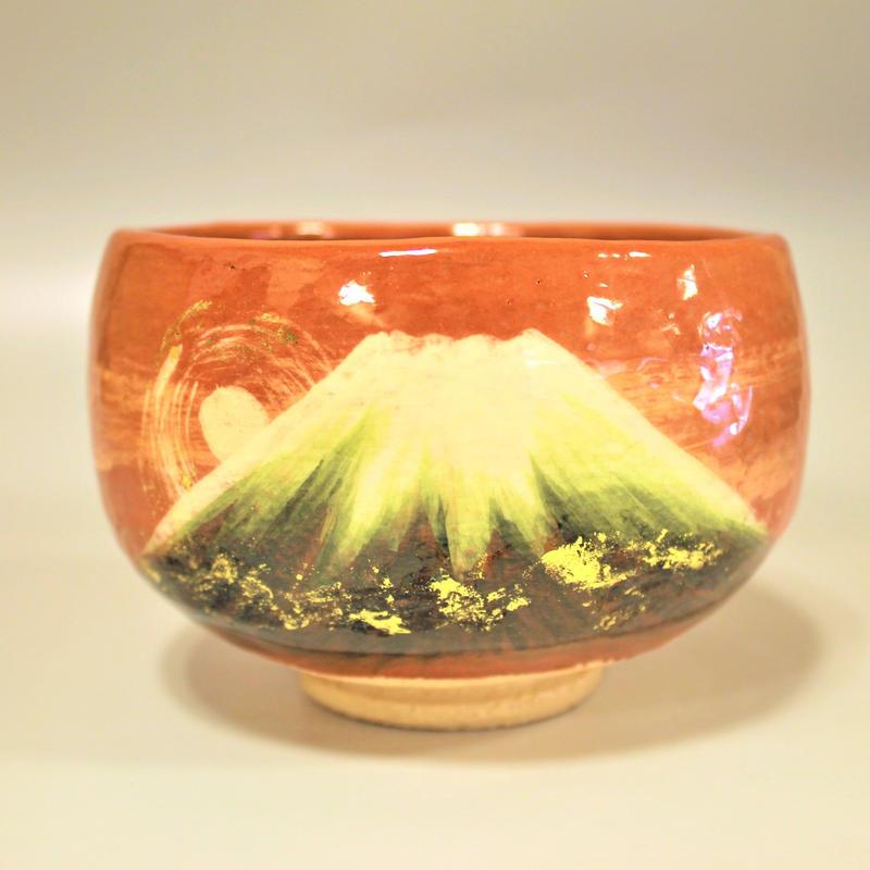 大野佳山作 赤楽 富士御来光茶碗