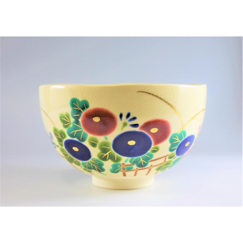 新井京華作 掛分色絵万寿菊茶碗