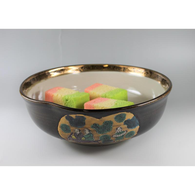九谷焼金縁人物画菓子器