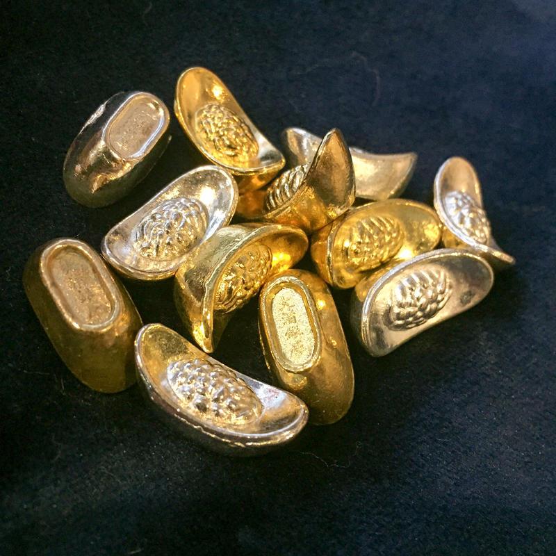 いつでもどこでも財運をアップさせるミニ金銀元宝(2コセット)