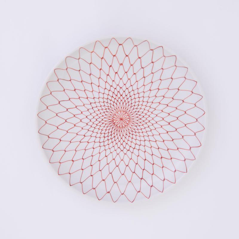 九谷焼 赤絵・黒絵網目文様 大皿(7号)Knitted Stitch ( Large )
