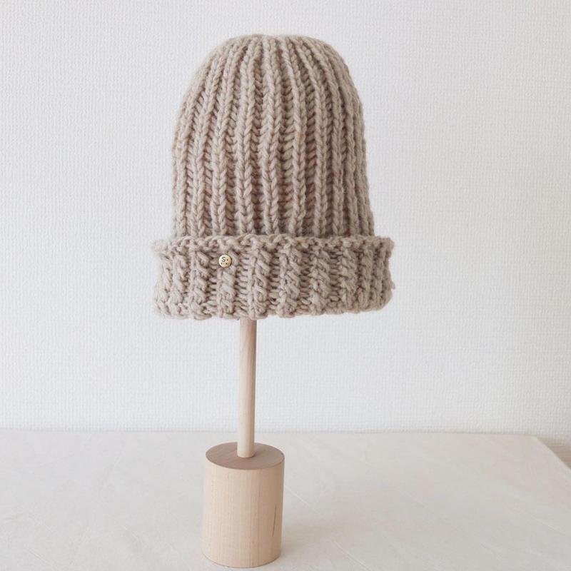 手編みリブニット帽