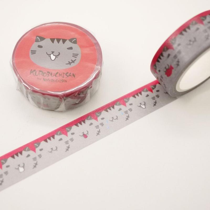 ねこぶちマスキングテープ(黒渕)51852010