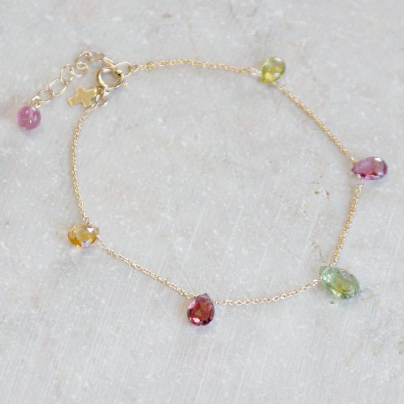 K14宝石質トルマリンブレスレットA(ブリオレットカット)