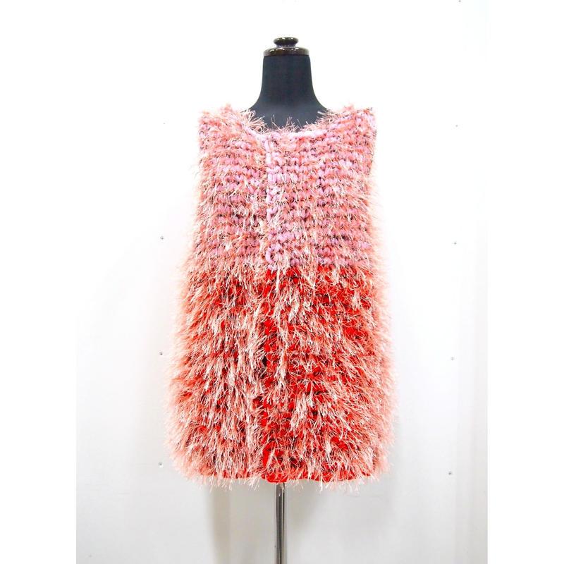 Long fur jilet < PINK × RED_salmon pink fur >