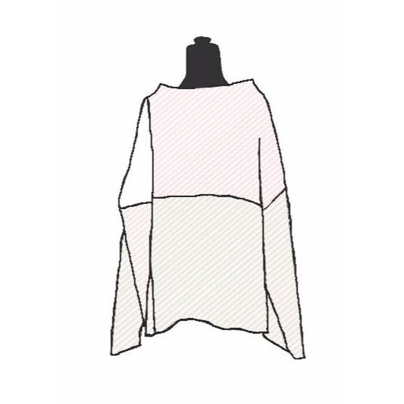 【Pre-order】Combination knit <White×L.Pink×L.Gray mix>_Ladies Free size