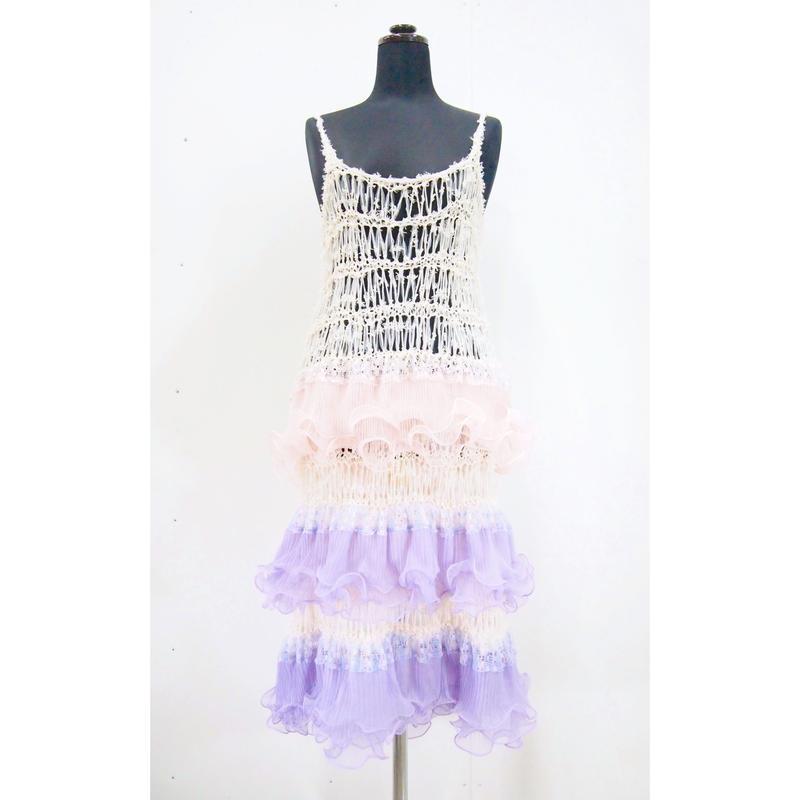 Ruffled Camisole  dress < Baby pink / Purple>