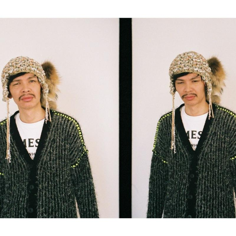 Stripe Fur C/D <UNISEX / BLK×SLV× line:neon YEL>