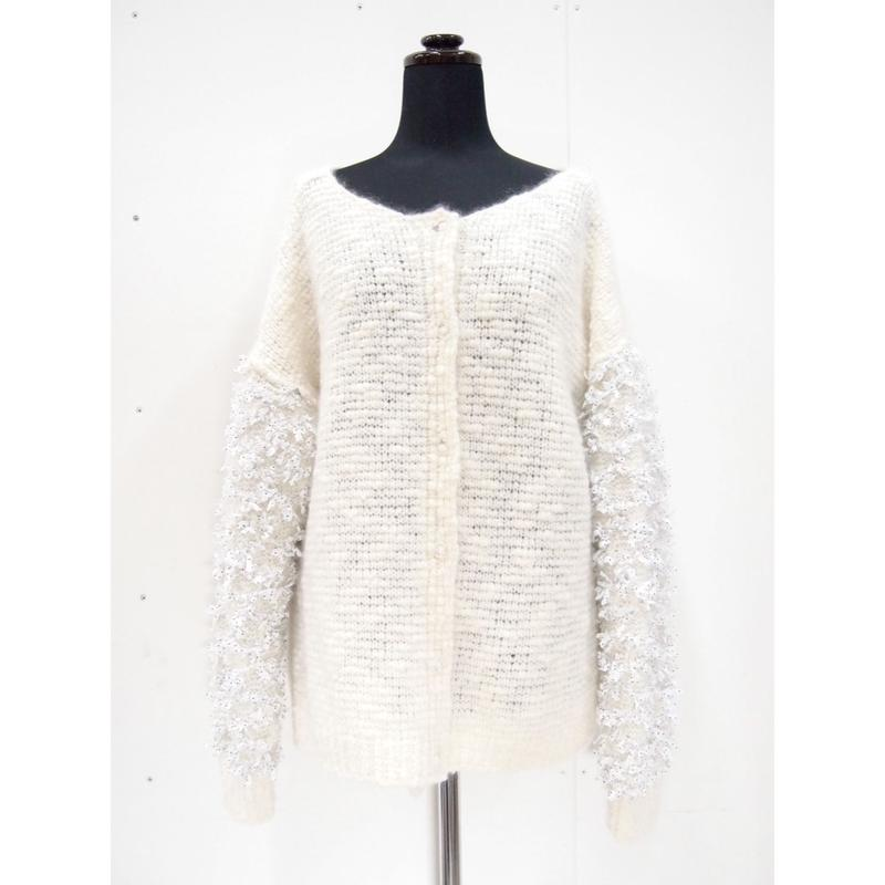 【Pre-order】Ribbon sleeves cardigan < White >