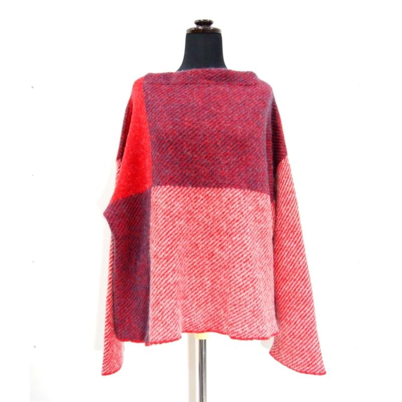 Combination Fringe knit <RED×NAVY×WHITE> _ Unisex_F size