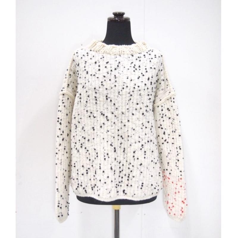 Pom Poms mock knit < WHITE × BLACK dots >