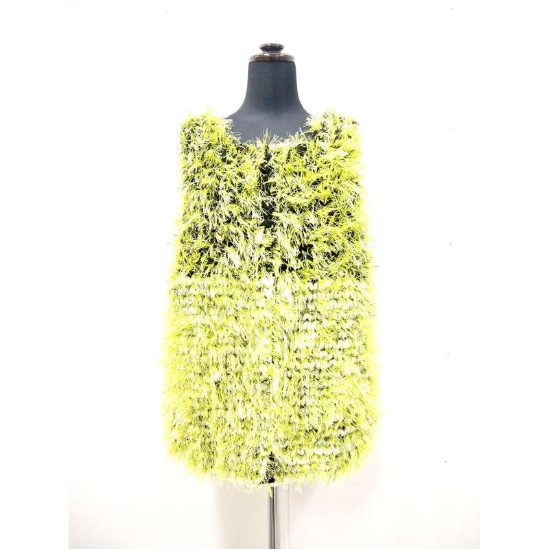 Long fur jilet < BLACK×WHITE_neon green fur >