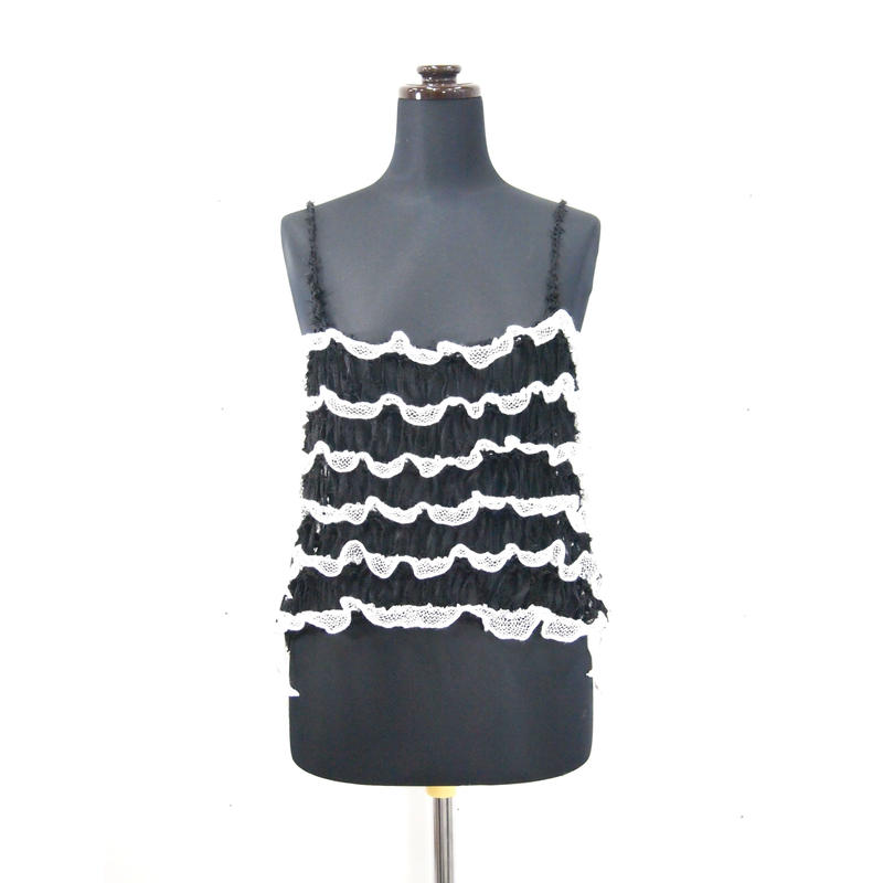 Frilled Lace Camisole < Black / Gray >