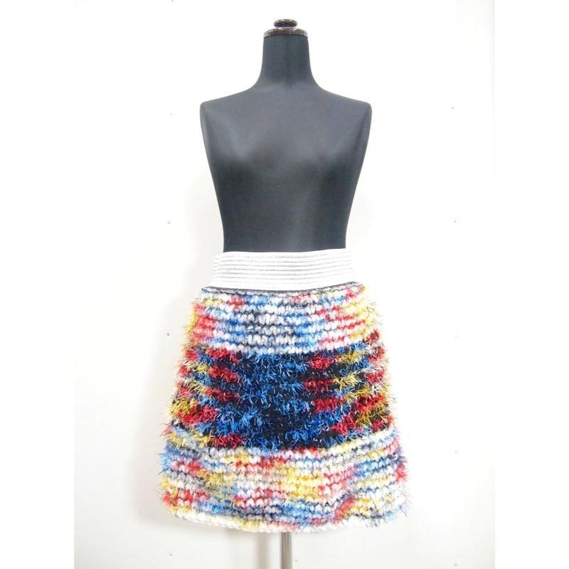 Short fur Skirt < BLACK × WHITE border >