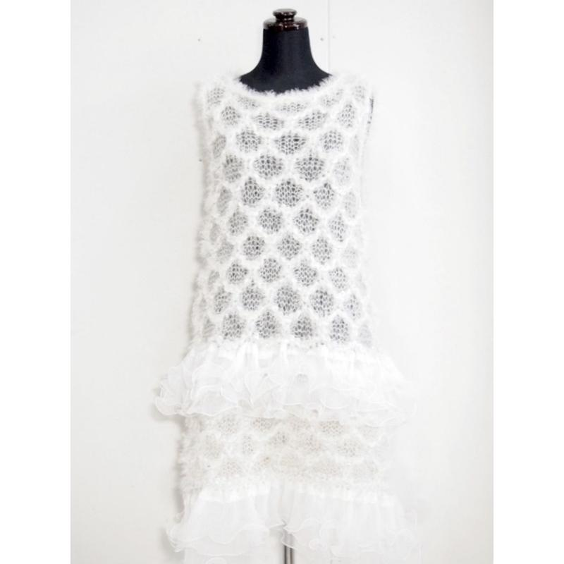 【Pre-order】Angel knit one piece < White / Black >