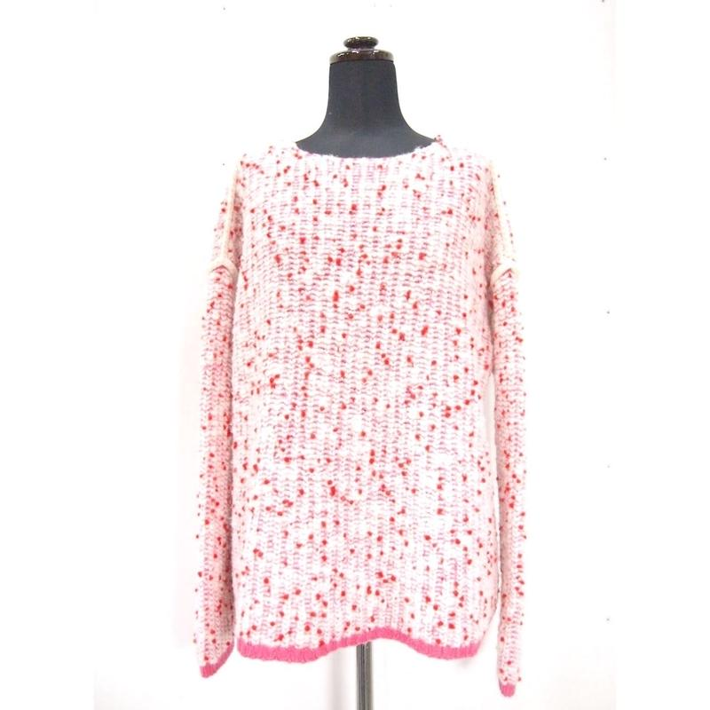 Pom Poms knit slim < PINK/WHITE ×RED dots >