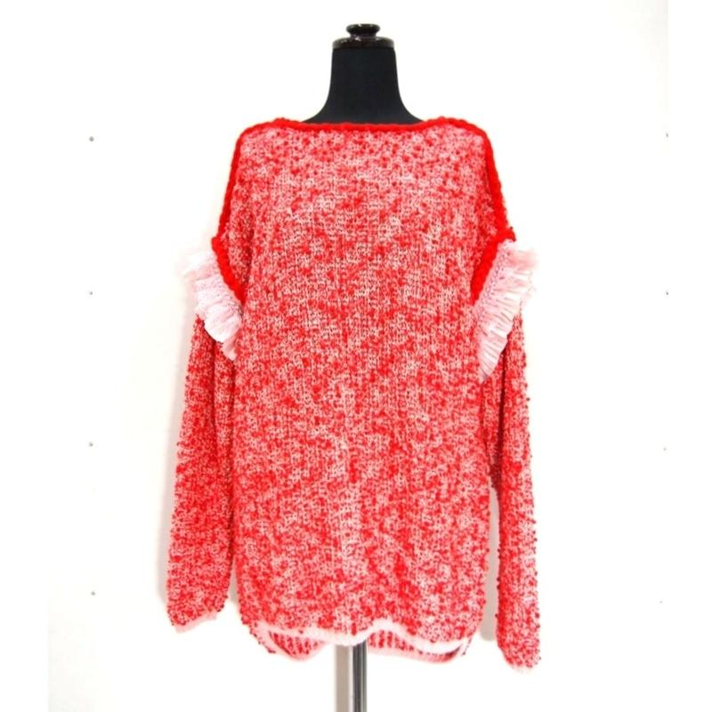 ponpom ruffle knit < RED × PNK ruffle>