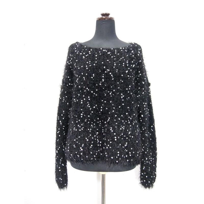Pom Poms fur knit < BLACK×WHITE dots >