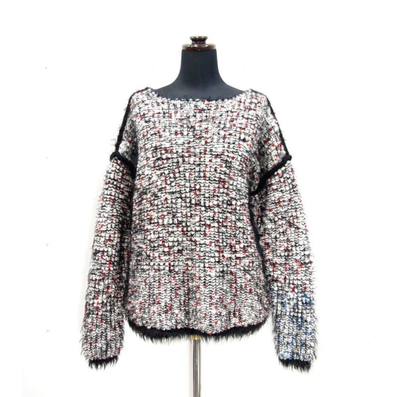 Pom Poms fur knit < WHITE/BLACK×REDdots>