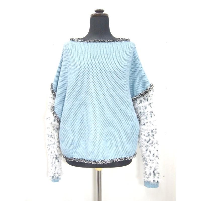 Arm fur pullover < L.BLUE × BLACK WHITE  >